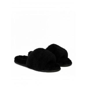 Fluff Slide Slippers Black