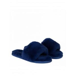 Fluff Slide Slippers Navy