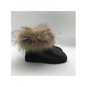 Mini Fox Fur Metallic Black