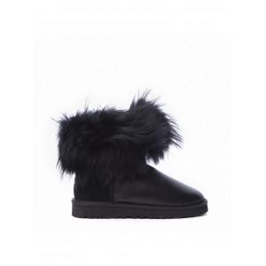 Mini Fox Fur Metallic Black (Black Fur)