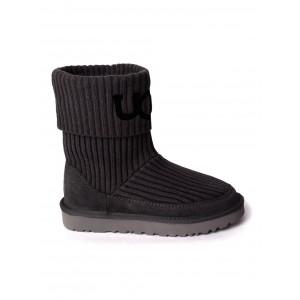 UGG Classic Ugg Rib Knit Logo Boots Black