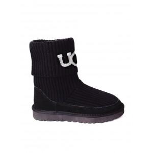 UGG Classic Ugg Rib Knit Logo White Boots